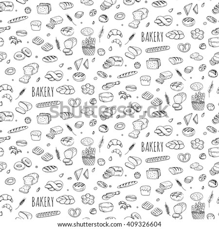 Seamless background with hand drawn Bakery doodle set. Cartoon food: rye, ciabatta, whole grain, sliced bread, bagel, french baguette, croissant Vector illustration Sketchy flour products elements - stock vector