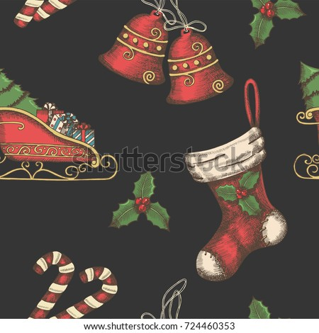 Seamless background with hand drawn bells, santa's sleigh, candy, holly and sock on black. New year. Christmas vintage pattern can be used for wallpaper, web page background, surface textures, textile