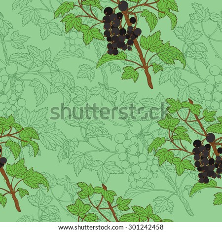 Seamless background with hand drawn berries of black currant on green  - stock vector