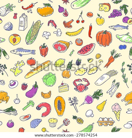 Seamless background with hand drawn food. Vector illustration, eps10.