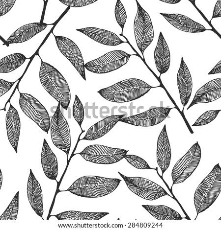 Seamless background with hand drawn leaves