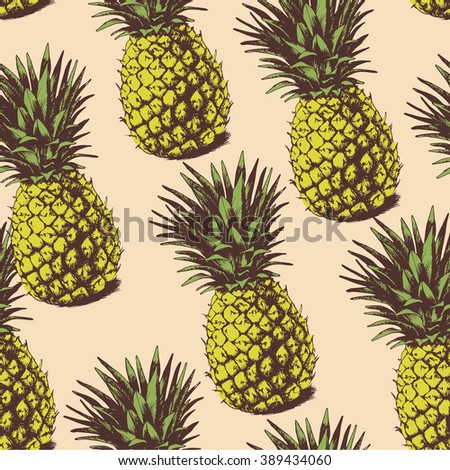 Seamless background with hand drawn pineapples - stock vector