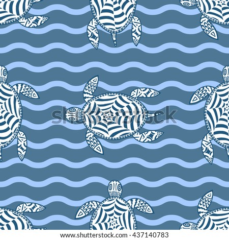 Seamless background with hand drawn sea turtles