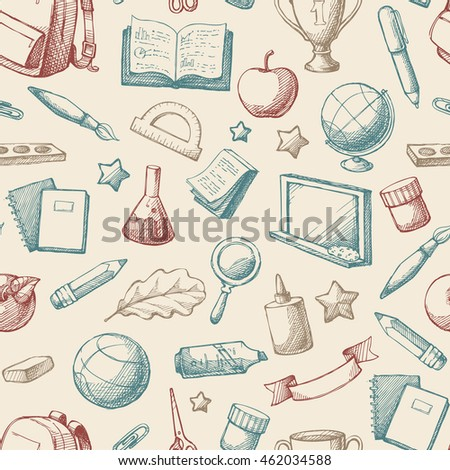 Seamless background with hand drawn sketch school education objects. Vintage vector color pattern with bag, winner cup, chalk board, stationery, book, notebook, paint, ball, globe, paint, flag.