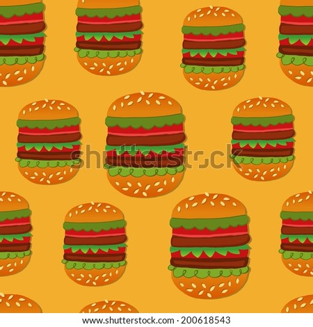 Seamless background with hand drawn style hamburgers