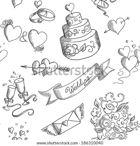 Seamless background with hand drawn wedding design elements - stock vector