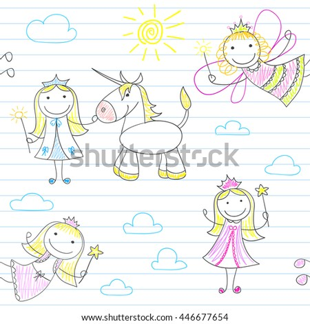 Seamless background with happy fairies. Sketch on notebook page. Endless texture can be used for pattern fills, web page background, baby and scrapbooking design - stock vector