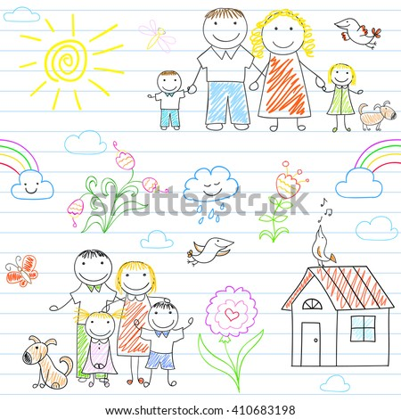 Seamless background with happy family - mom, dad, boy and girl. Sketch on notebook page in doodle style