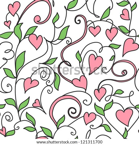 Seamless background with hearts ornament. Floral pattern with hearts.