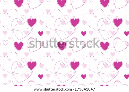 Seamless Background with Hearts - vector