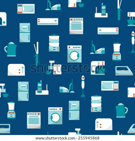 Seamless background with home appliances for your design - stock vector