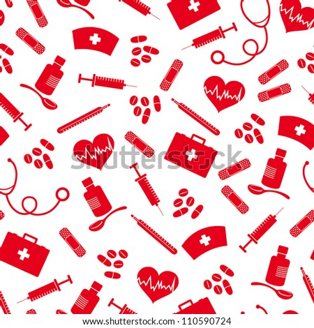 seamless background with icons of medicine (JPEG available in my gallery) - stock vector