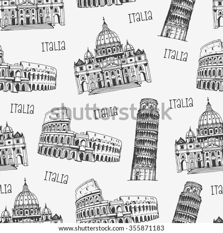Seamless background with italian architecture, vector pattern with famous Rome, Italy landmarks