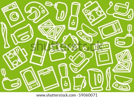 Seamless background with kitchen home appliances - stock vector