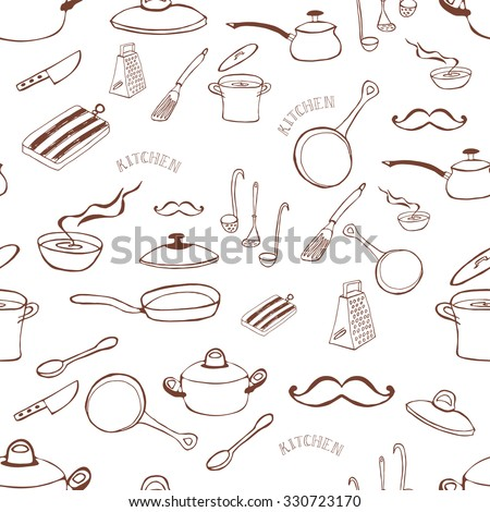 Seamless background with kitchen tools. Seamless frame with casserole and frying pan. Cooking concept. Hand Dawn. Vector Illustration. - stock vector