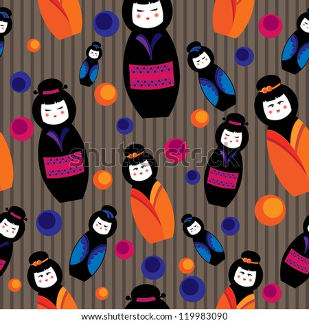 seamless background with kokeshi dolls - stock vector