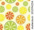 seamless background with lemon, lime, orange and grapefruit - stock vector