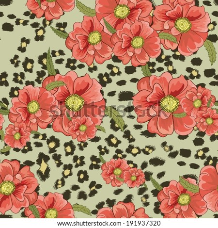Seamless background with leopard skin and flowers - stock vector