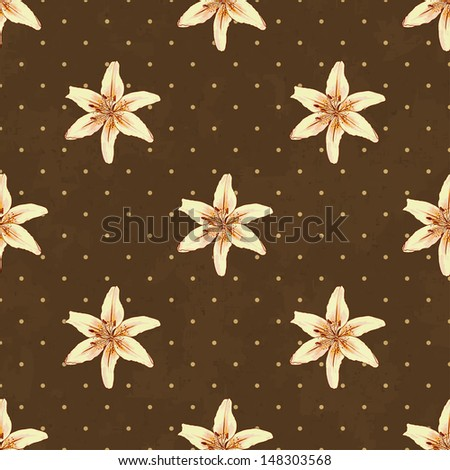 seamless background with lilies, vector illustration, eps10