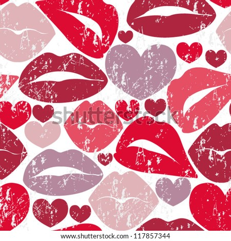 seamless background with lips - stock vector