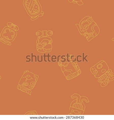 Seamless background with Maya calendar named months and associated glyphs for your design - stock vector