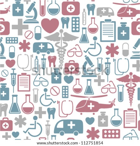 seamless background with medical icons - stock vector