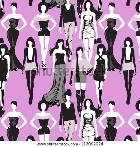 seamless background with models - stock vector