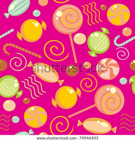 Seamless background with multi-coloured candy - stock vector