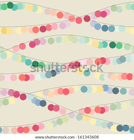 Seamless background with multicolored circle garlands