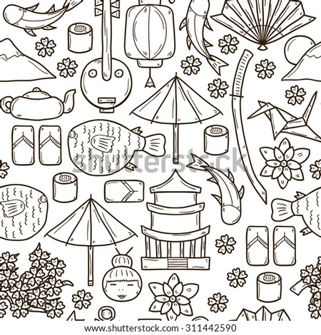 Seamless background with objects in hand drawn outline style on Japan theme: geisha, sword, sushi, sakura, lantern, origami. Travel japanese consept for your design - stock vector