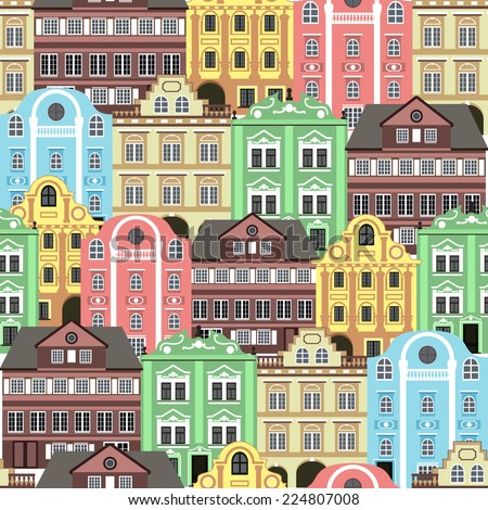 Seamless background with old colourful buildings for wallpaper or background design. - stock vector