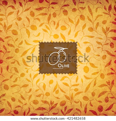 Seamless background with olive branches. Olive logotype - stock vector