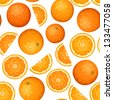 Seamless background with oranges. Vector illustration. - stock vector