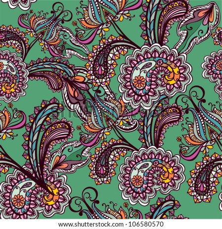 Seamless background with paisley ornament - stock vector