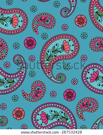 Seamless background with paisley pattern. Vector illustration.