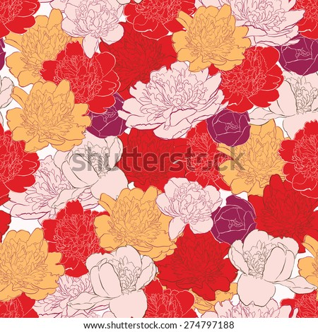 Seamless background with peony flowers - stock vector