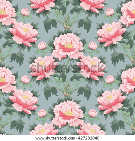 Seamless background with peony flowers. Vector illustration imitates traditional Chinese ink painting