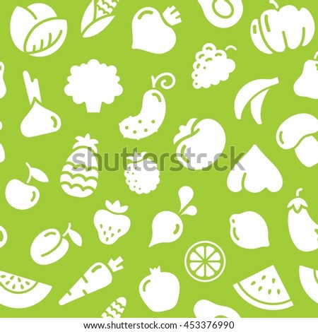 Seamless background with pictures of fruits and vegetables - stock vector