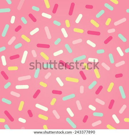 Seamless background with pink donut glaze and many decorative sprinkles  - stock vector