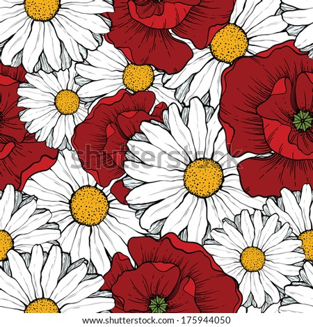 Seamless background with poppies and daisies  - stock vector