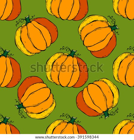 Seamless background with pumpkins. Halloween pattern, vector illustration - stock vector
