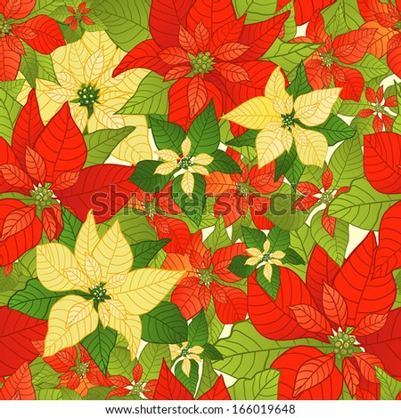 Seamless background with red and yellow Poinsettia - stock vector