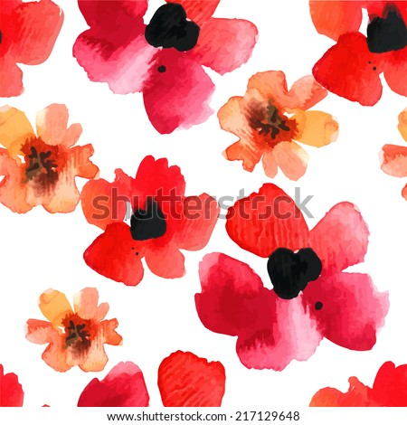 Seamless background with red poppies watercolor on white background. Floral ornament with wildflowers. Background for your design and decor. - stock vector