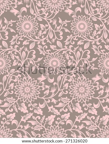 Seamless background with retro pattern. floral ornament - stock vector