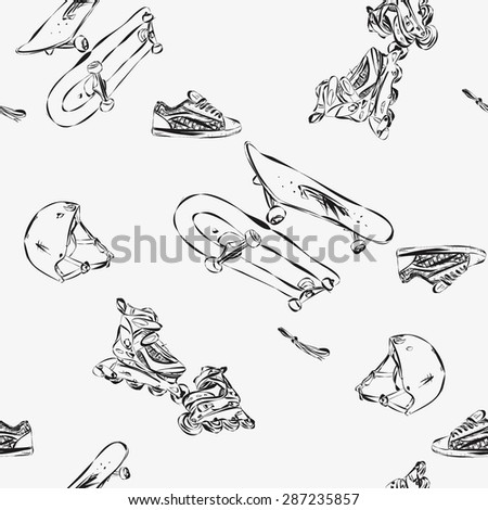 Seamless background with rollers, skateboards, helmets, boots. Active extreme sports. Sports print. Stock vector. sports background.