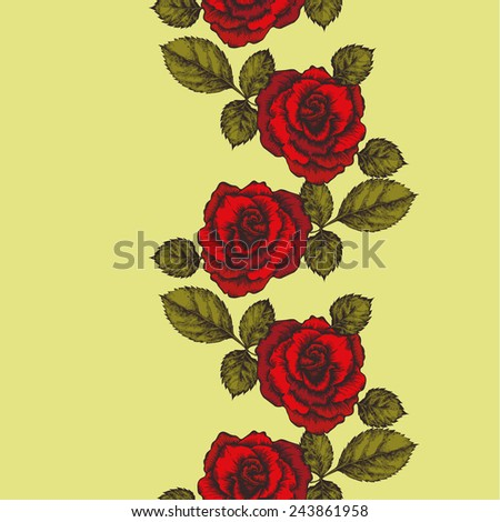 Seamless background with roses ornament. Vector illustration..jpg - stock vector