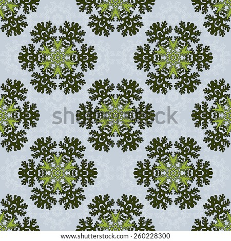 Seamless background with round floral elements. Delicate pattern. Lacy leaves.Perfect for greetings, invitations, manufacture wrapping paper, textile, web design. - stock vector