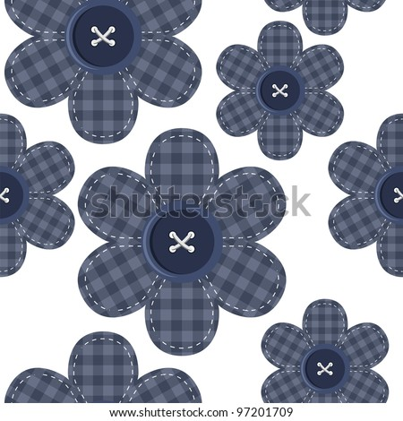 seamless background with scrapbook flowers - stock vector