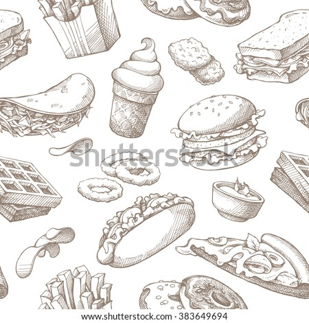 Seamless background with sketch fast food. Pattern with hand drawn elements on white background. Fast food restaurant, menu. Hot dog, sandwich, waffles, pizza, french fries, ice cream, donuts, burger - stock vector