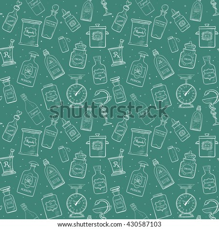 Seamless background with sketches of vintage drugstore objects. Pharmacy bottles, mortar and pestle, old scales etc.